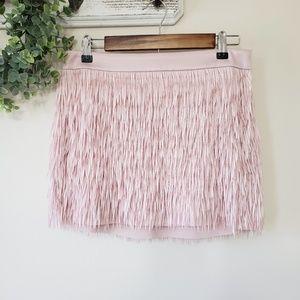 Express Blush Pink Fringe Mini Skirt Size 4